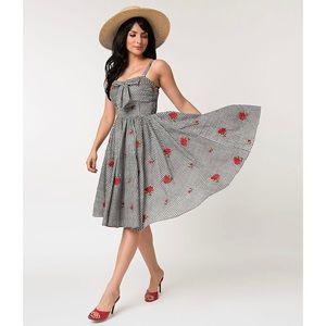 Unique Vintage Gingham Swing Dress